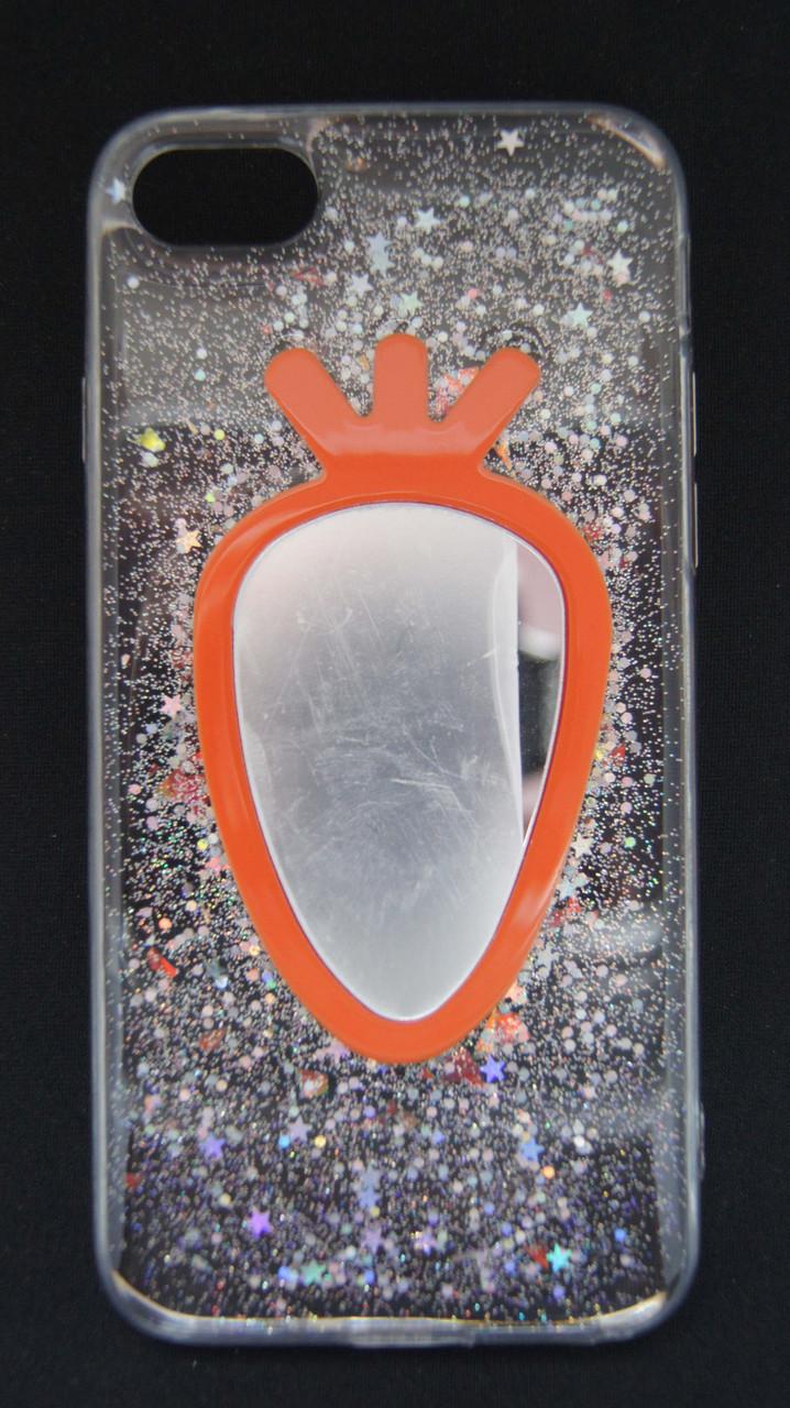 Силиконовый чехол для iPhone 7 / 8 Прозрачный с блестками и зеркалом