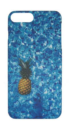 Плаcтиковый чехол для iPhone 7 Plus / 8 Plus Синий с ананасом, фото 2