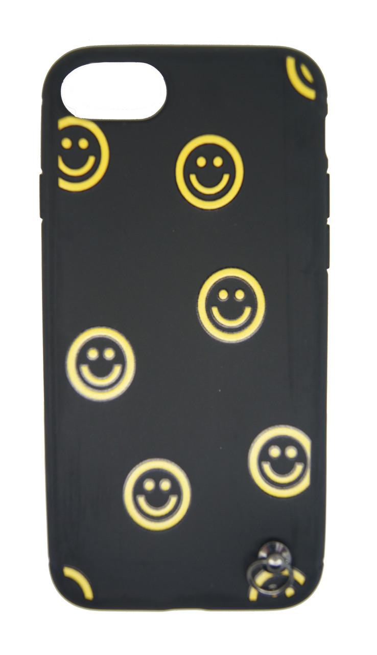 Силиконовый чехол iPhone 7 смайлик желтый с черным + шнурок