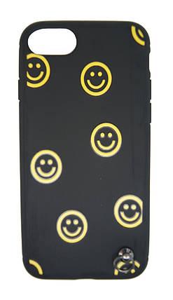 Силиконовый чехол для iPhone 7 / 8 Черный с смайликом и шнурком, фото 2