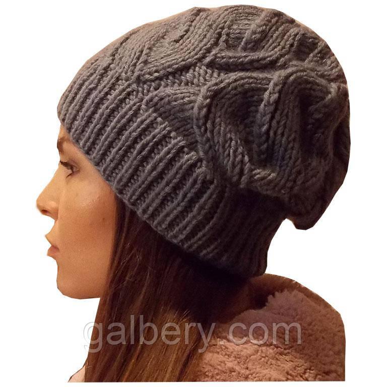 женская вязаная шапка объемной крупной вязки ложные косы цена