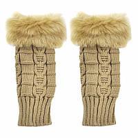 Бежевые короткие женские митенки с мехом, перчатки без пальцев 20 см