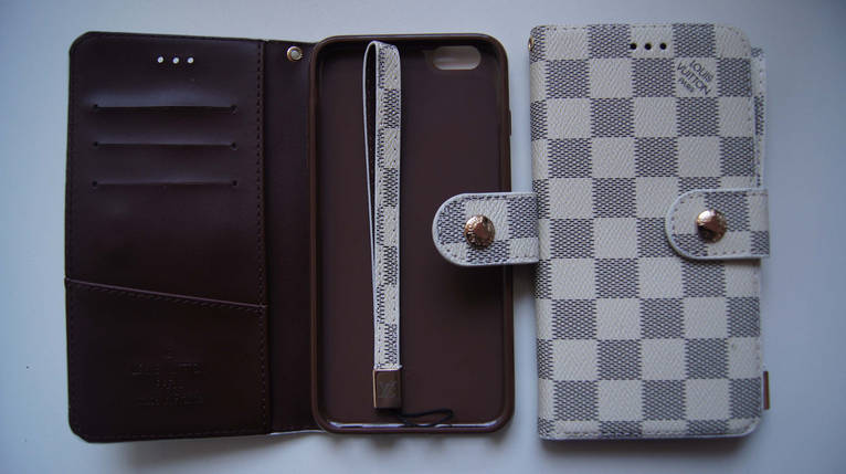 Чехол книжка для iPhone 6 Plus / 6S Plus VL бежевый с серым квадратики, фото 2