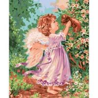 Картина по номерам - Ангел с щенком 40*50см