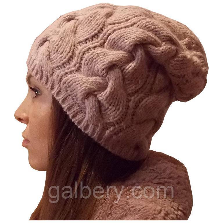 женская вязаная шапка в стиле лало объемной крупной вязки косами