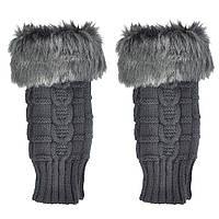 Темно-серые короткие женские митенки с мехом, перчатки без пальцев 20 см