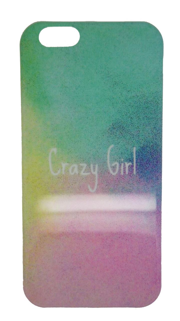 Пластиковый чехол для iPhone 6 / 6S Crazy Girl разноцветный