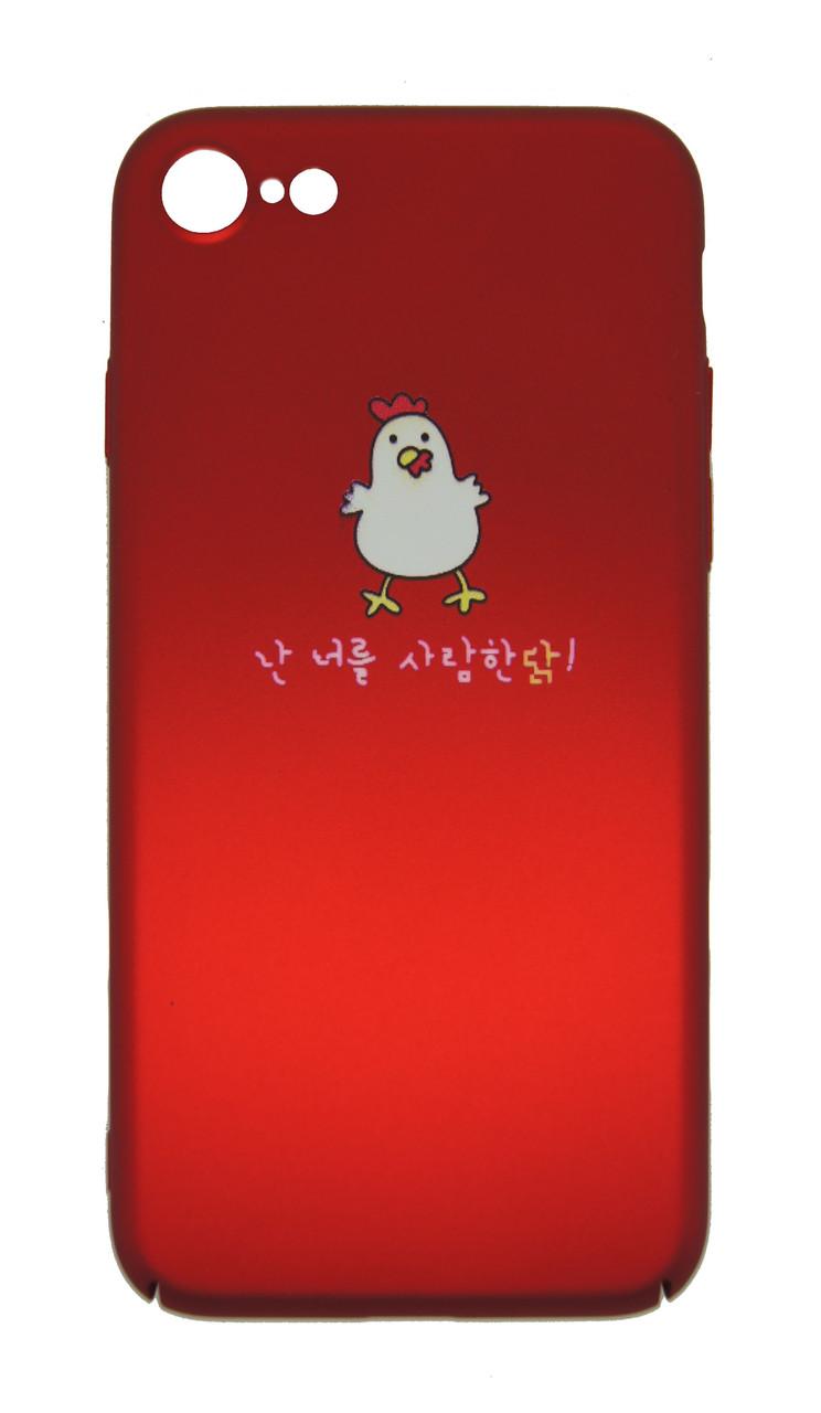 Плаcтиковый чехол для iPhone 7 / 8 Soft Touch Красный с цыплёнком