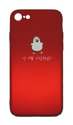 Плаcтиковый чехол для iPhone 7 / 8 Soft Touch Красный с цыплёнком, фото 2