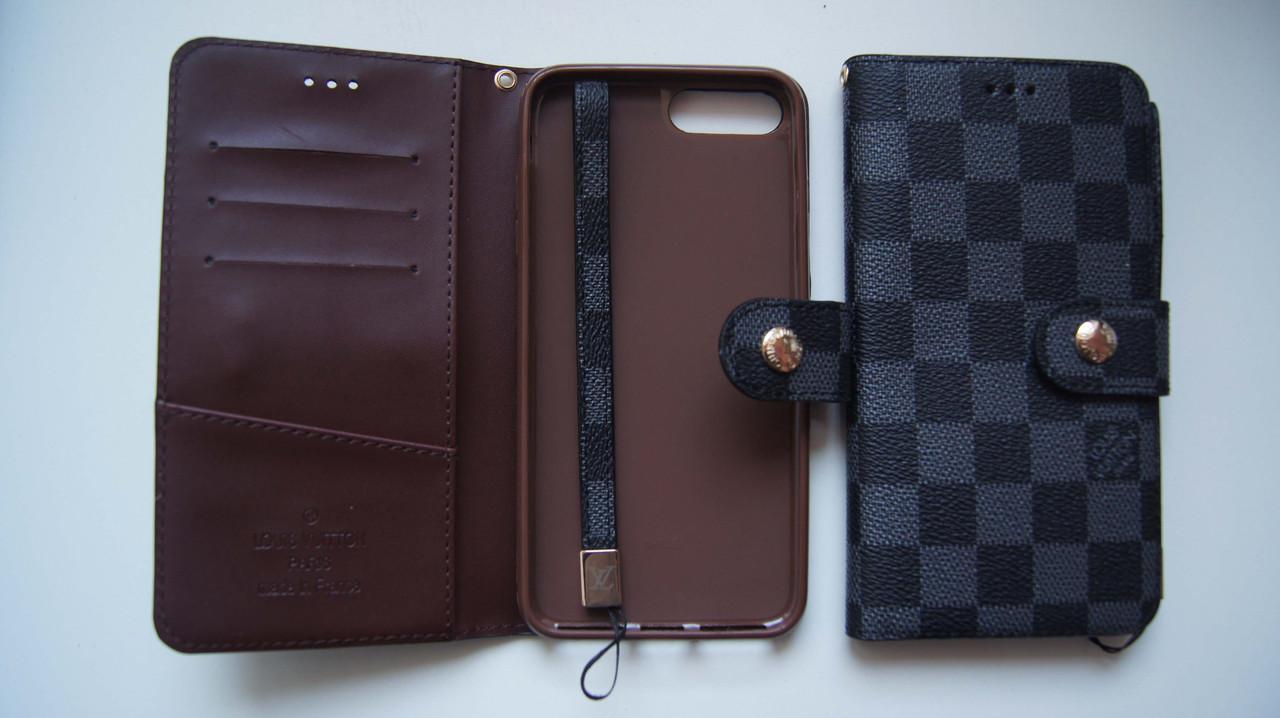 Чехол книжка iPhone 7 Plus / 8 Plus VL черный с серым квадратики