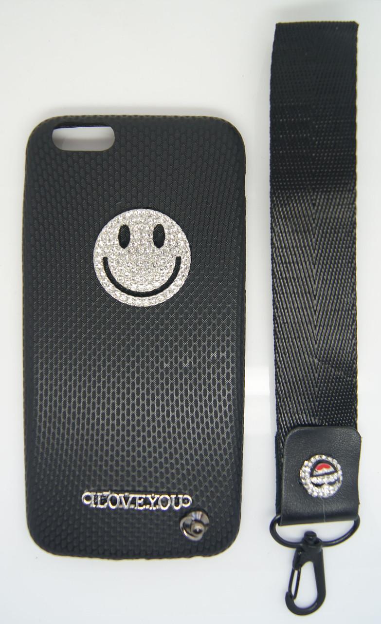 Силиконовый чехол для iPhone 6 / 6S Черный с смайликом и шнурком