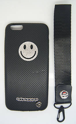 Силиконовый чехол для iPhone 6 / 6S Черный с смайликом и шнурком, фото 2