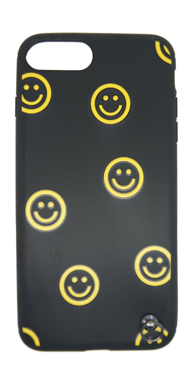 Силиконовый чехол для iPhone 7 Plus / 8 Plus Черный с смайликом и шнурком