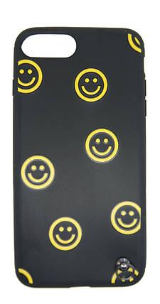 Силиконовый чехол для iPhone 7 Plus / 8 Plus Черный с смайликом и шнурком, фото 2