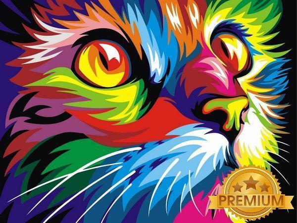Картины по номерам 40×50 см. Babylon Premium Радужный кот Художник Ваю Ромдони