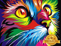 Картины по номерам 40×50 см. Babylon Premium Радужный кот Художник Ваю Ромдони , фото 1