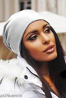 Жіноча осіння біла шапка з трикотажу Jersy