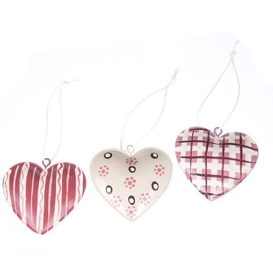 """Комплект елочных игрушек """" Три сердца """""""