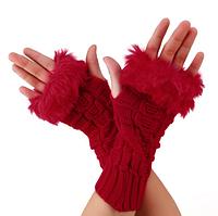 Красные короткие женские митенки с мехом, перчатки без пальцев 20 см