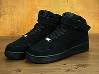 Мужские кроссовки Nike Air Force Winter Black с мехом