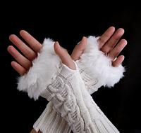 Белые короткие женские митенки с мехом, перчатки без пальцев 20 см