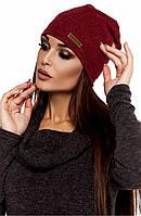Жіноча осіння бордова шапка з ангори Ella