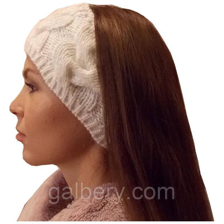 вязаная повязка на голову объемной крупной вязки продажа цена в