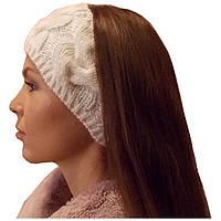 Вязаная повязка на голову объемной крупной вязки