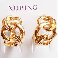 """Серьги кольца """"Завиток"""" Xuping Jewelry. Ювелирный сплав, позолота 18К., фото 1"""