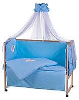 Детский постельный комплект Qvatro 100% хлопок(8элементов)однотонный голубой