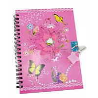 Блокнот с замком для девочек розовый (2 ключа)  (18х13,5х1 см)