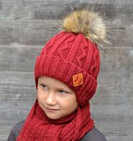 Искусственный мех, зимняя шапка на флисе для мальчика Енот, бордо (ОГ 48-52, 52-56)