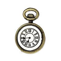 Подвеска, Карманные часы, Цинковый сплав, Античная бронза, Цифры с узором, 17 мм x 11 мм