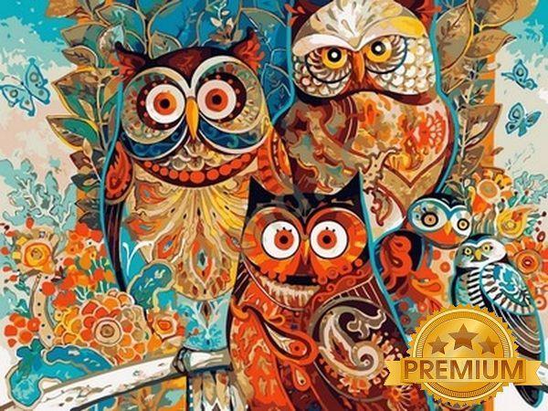 Картины по номерам 40×50 см. Babylon Premium Мудрые совы