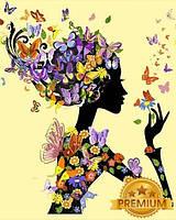 Картины по номерам 40×50 см. Babylon Premium Девушка с бабочками, фото 1