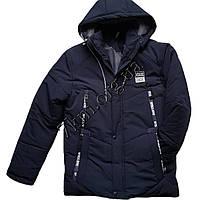 Куртка подростковая для мальчиков 12-16 лет темно-синяя Оптом 141003