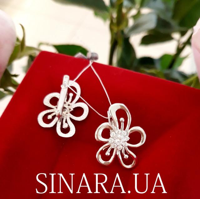 Серебряные серьги Цветы с фианитом - Крупные серьги серебро фото 1
