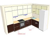 Встроенная кухня крашенный MDF , кухонный фартук 6