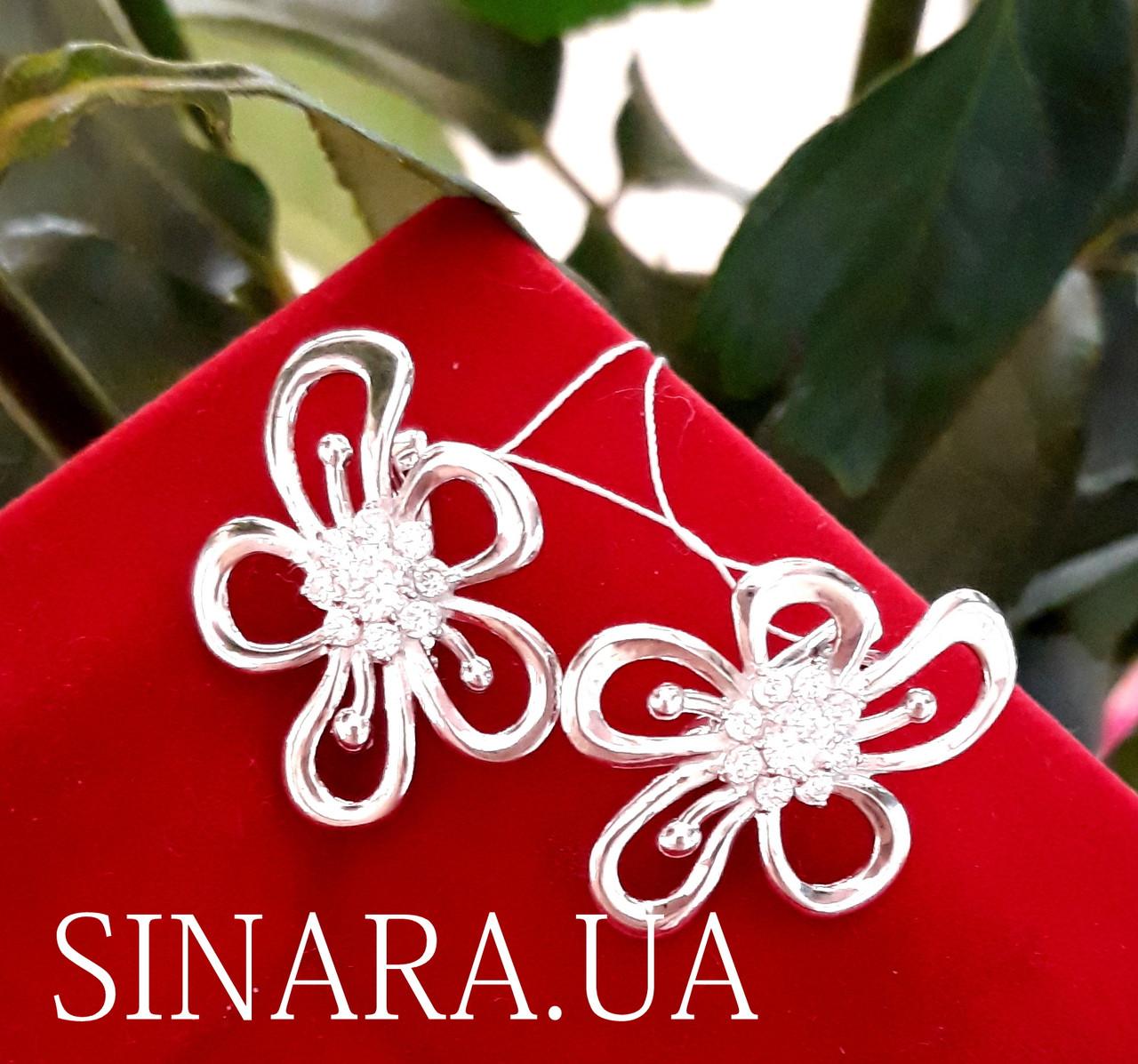 Серебряные серьги Цветы с фианитом - Крупные серьги серебро