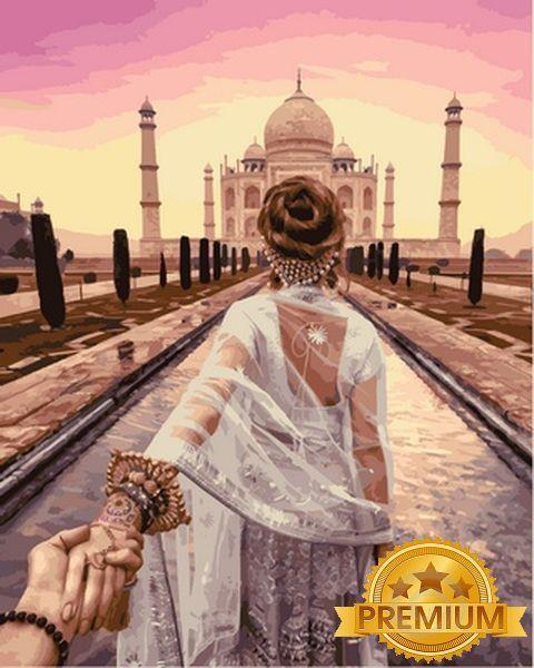 Картины по номерам 40×50 см. Babylon Premium (цветной холст + лак) Cледуй за мной Индия Фотохудожник Мурад Османн