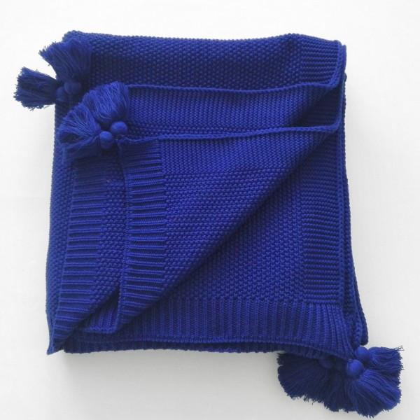Плед вязанный 140х180см Olvia синий SoundSleep