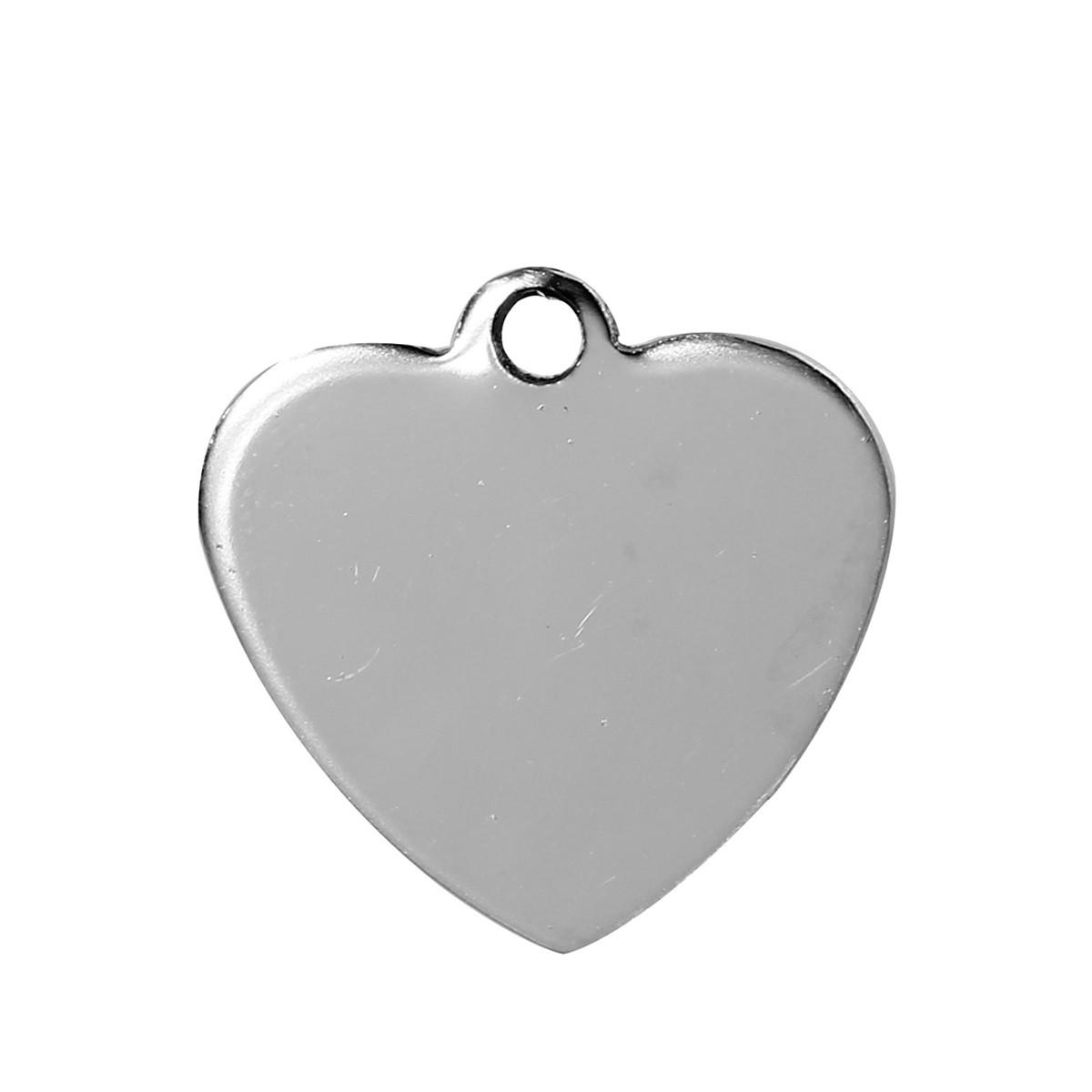 Подвеска Сердце, Нержавеющая сталь, Пустое для гравировки, Штамповка, Серебряный Тон, 20 мм x 20 мм