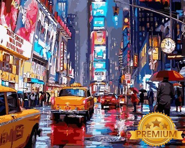 Картины по номерам 40×50 см. Babylon Premium (цветной холст + лак) Таймс-сквер Художник Ричард Макнейл