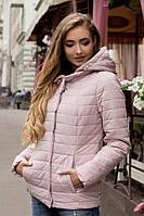 Демисезонная женская короткая куртка с капюшоном в пастельных нежных цветах 90229