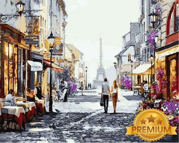 Картины по номерам 40×50 см. Babylon Premium Прогулка по Парижу Художник Ричард Макнейл