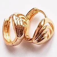"""Серьги кольца """"Ракушка"""". Ювелирный сплав, позолота 18К. Xuping Jewelry."""