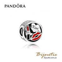 Pandora Шарм ГЛАМУРНЫЙ ПОЦЕЛУЙ #796324ENMX серебро 925 Пандора оригинал
