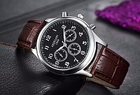 Кварцевые мужские наручные часы с коричневым ремешком код 318