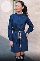 Платье джинсовое с поясом 1646-356