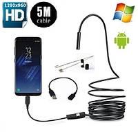 Эндоскоп USB-microUSB HD 1280 * 960 5м гибкий кабель водонепроницаемый, фото 1